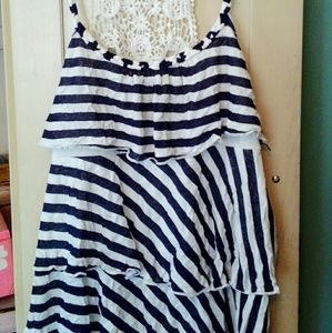 Tops - Blue and white striped ruffled with crocheted top